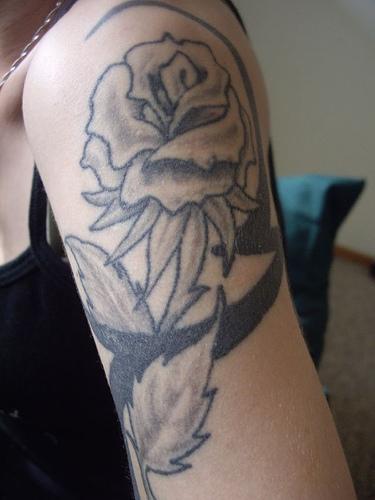 Black Rose Upper-Arms / Shoulder Tattoo Design for Women – Flower Tattoos