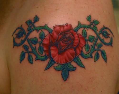 Exotic Swirly Red Rose Arm Tattoo Design for Women – Flower Tattoos