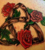 Lovely Infinity Lines and Red-Roses Tattoo Design for Women