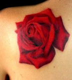 Beautiful 3D Life-like Red Rose Flower Shoulder Tattoo Design for Women