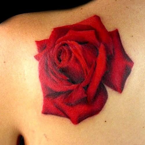 Beautiful 3D Life-like Red Rose Flower Shoulder Tattoo Design for Women