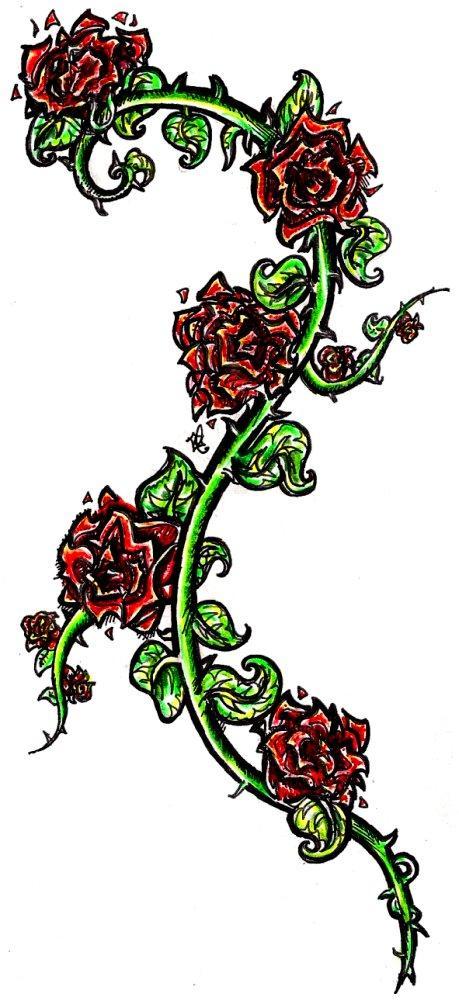 Rose Vines Drawings Rose Vine Tattoos Designs