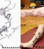 Three Steps Make Rose Vine Tattoo