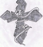 Stone Cross With A Rose Vine Photos For Tattoo Man
