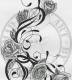 Trible Vine And Roses Tattoo Images