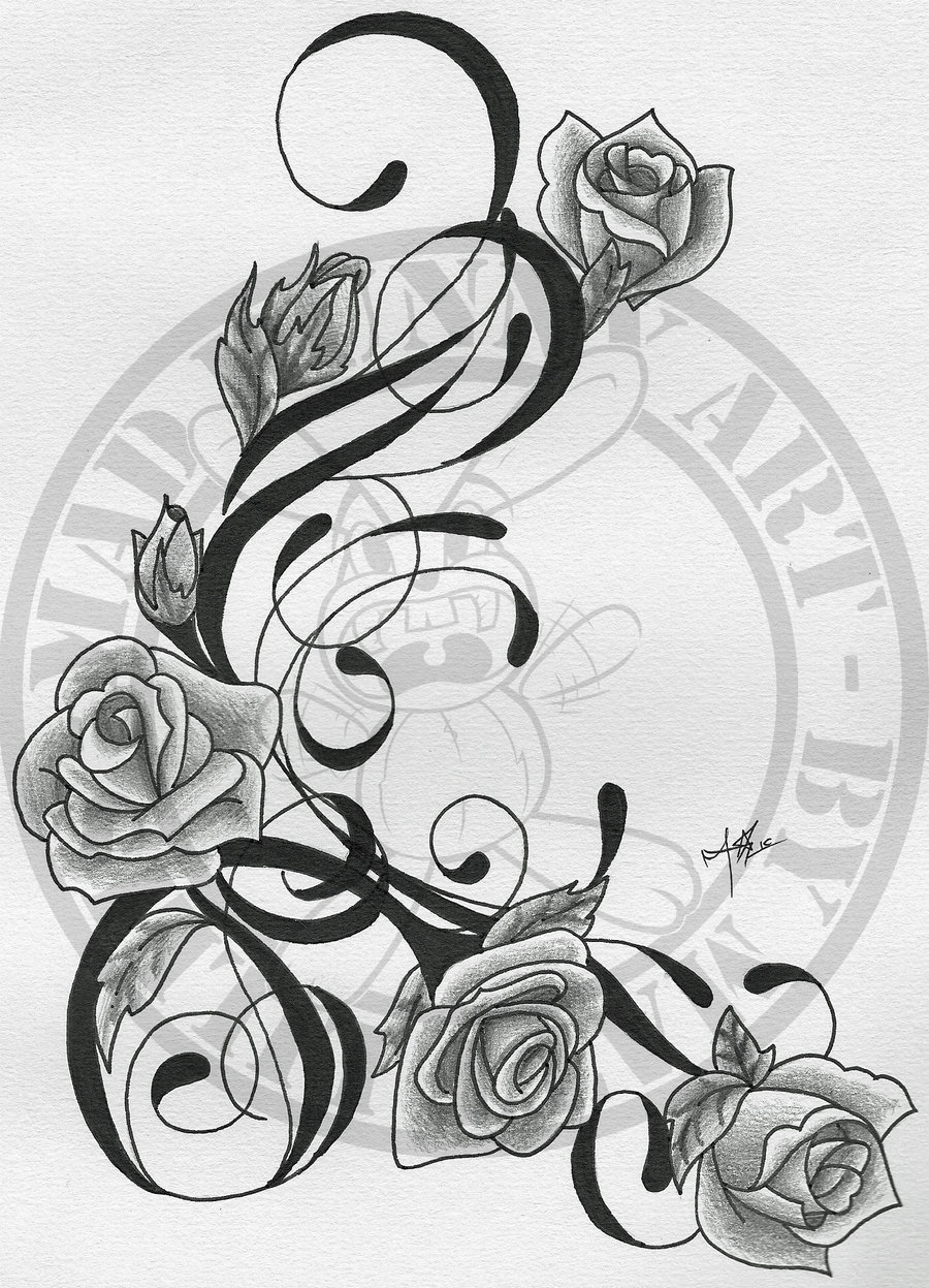 Rose Vines Drawings Vine And Roses Tattoo
