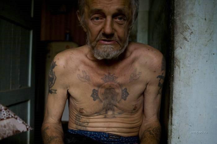 Old Man Russian Criminal Tatoos