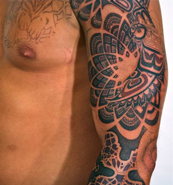 Haida And Shipibo Inspired Sacredgeometry Tattoo Of Owl And
