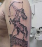 Sagittarius Zodiac Symbol Tattoo On Biceps