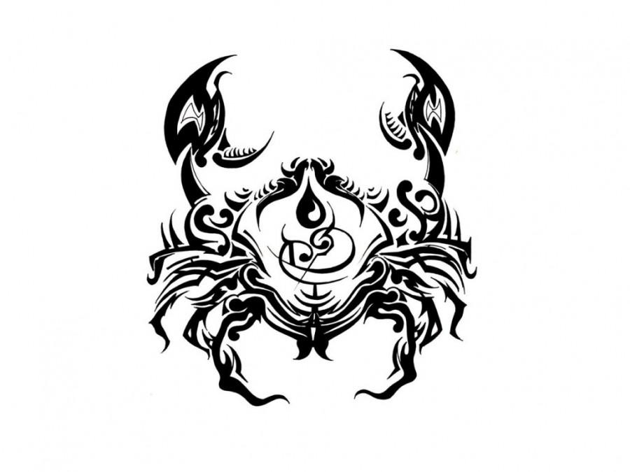 Cancer Zodiac Symbol Tattoos Sketch Design