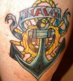 Upper Arm Tattoo Design With Color Tattoo Of Anchor