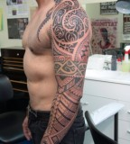 wow samoan sleeve tatto model with colors
