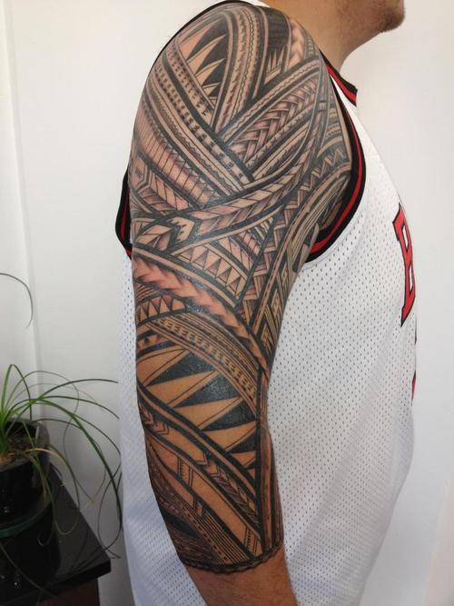 Creative Samoan sleeve tatto design for full arm