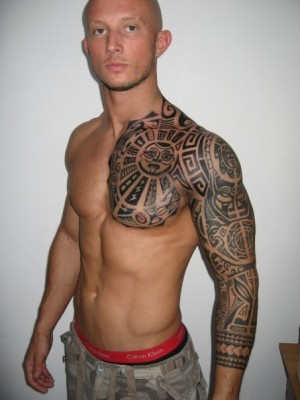 excellent samoan sleeve tatto and a half shoulder