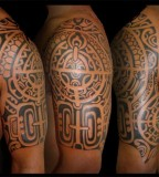 Nice Polynesian Samoan Sleeve Tattoo creation