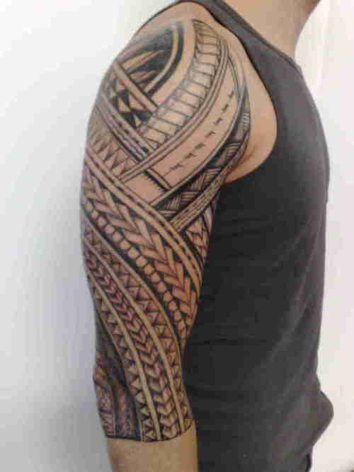 Great Samoan Sleeve Tattoo Picture for big arm