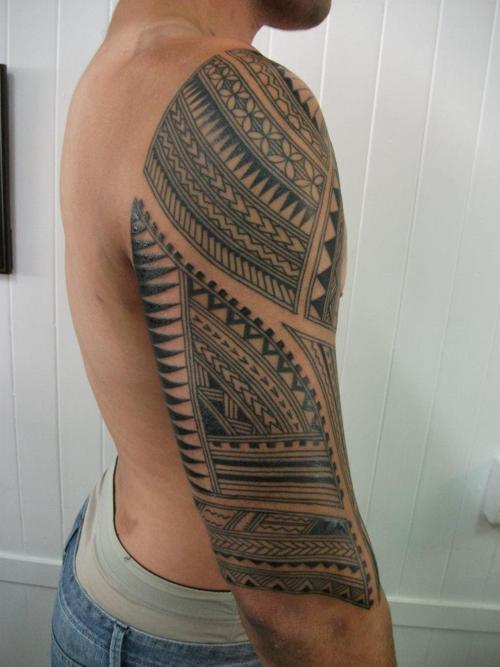Nice Samoan Sleeve Tattoo with simple pattern