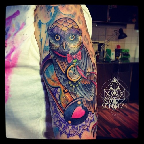 Sleeve Tattoo for Men of Owl and Swirls Tattoo Designs