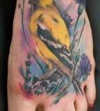 Sweet Yellow Bird Tattoo on Feet - Birds Tattoo for Women