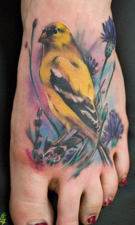 Sweet Yellow Bird Tattoo on Feet – Birds Tattoo for Women
