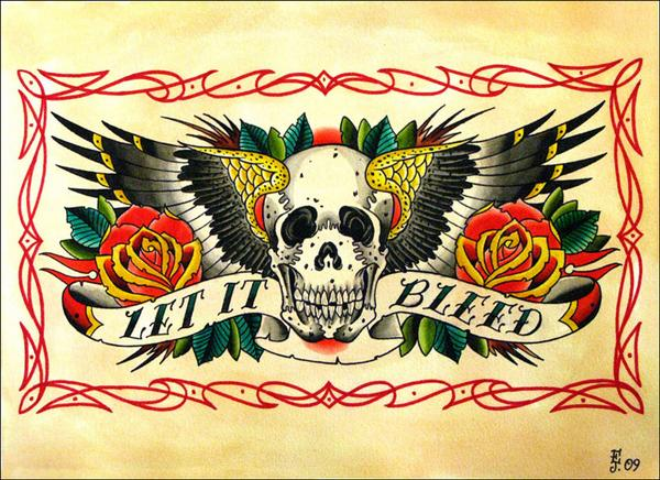 """Cool """"Let it Bleed"""" Skulls and Wings Tattoo Designs by Metal Ink"""