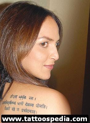 Esha Deol Sanskrit Tattoos Pictures