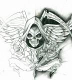 Santa Muerte Emblem Tattoo Design