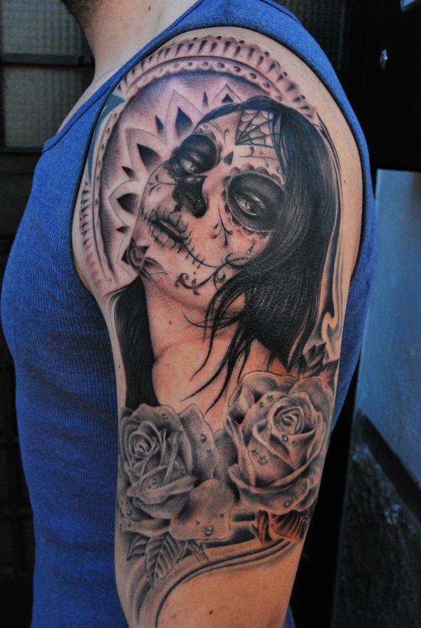 Santa Muerte Exotic Half Sleeve Tattoo