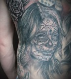 Santa Muerte Part Back Tattoo