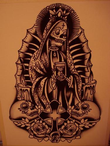 Tribal Death Tattoo: Tattoos Santa Muerte Origins And Significations