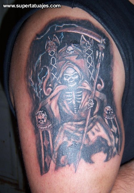 Tatuaje De La Muerte En Su Trono Fotos Tattoos