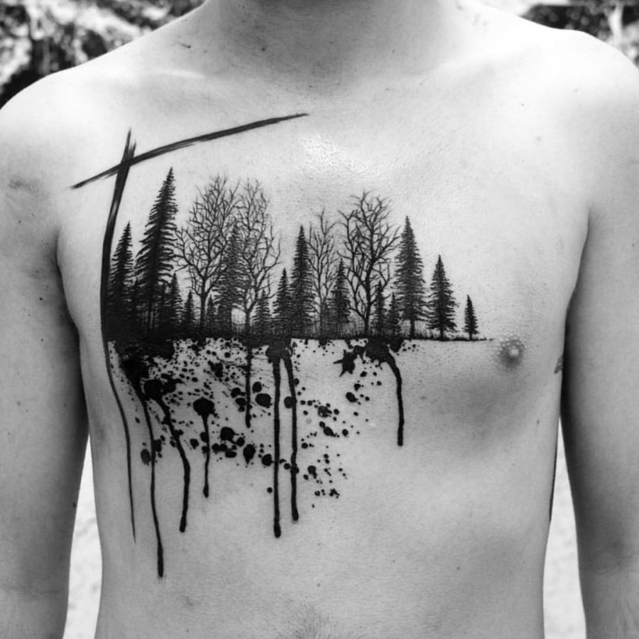 Horse Jaw Tattoo: 53 Jaw Dropping Chest Tattoos For Men