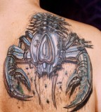 Nice Robotic 3D Scorpion Tattoo on Back Shoulder