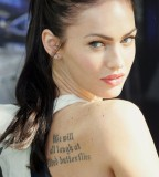 Exotic Megan Fox Scripture Tattoos