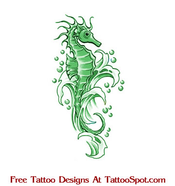Sea Horse Tattoo Design - Animal Tattoo Designs
