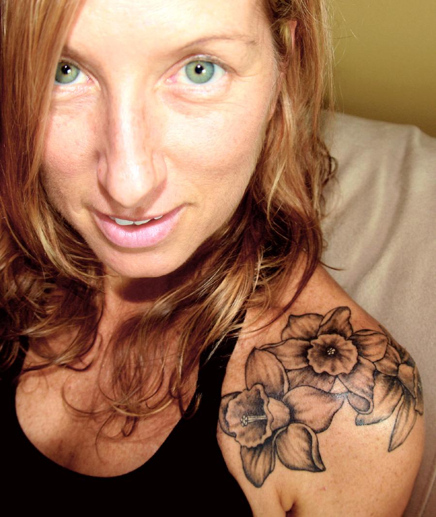 September Birth Flower Tattoo Shoulder for Woman