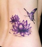 Purple September Birth Flower and Butterfly Tattos