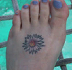 September Birth Flower Tattoos in Leg for Woman