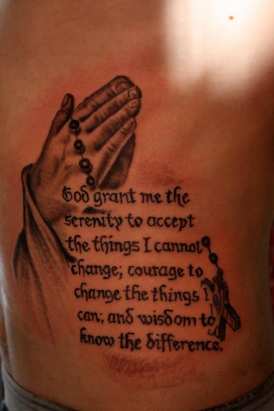 Lower Back Serenity Prayer Hand Tattoo Ideas