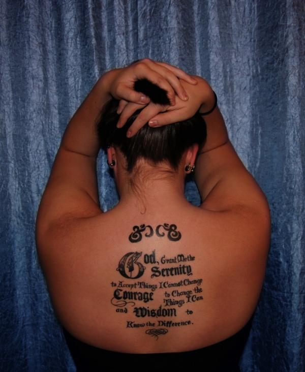 Back Tattoo Design Of Serenity Prayer Tattoo