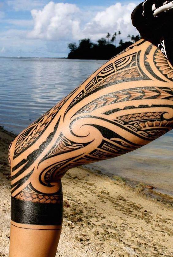 sexy polynesian thigh tribal tattoo
