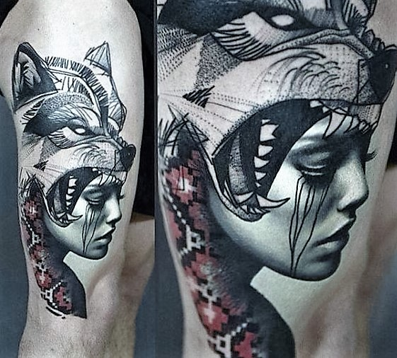 shaman-lady-and-wolf-tattoo