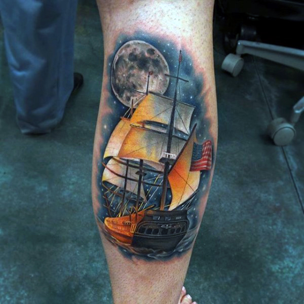 ship and moon tattoos for men