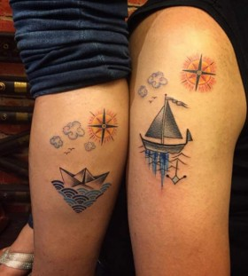 ship couple tattoo