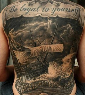 ship sea and skull full back tattoos for men
