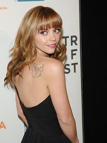 Christina Ricci Cute Tattoos on Shoulder
