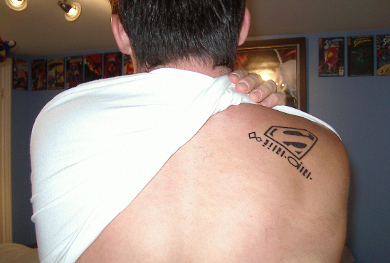 Superman Logo Tattoo Design on Shoulder