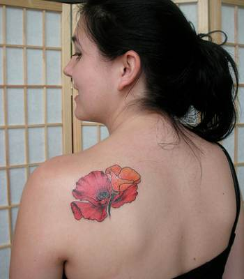 Flower Shoulder Blade Tattoo Design For Girl
