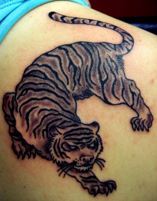 Black Tiger Tattoos On Right Shoulder Blade