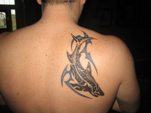 Shark and Tribal Tattoo Design on Shoulder